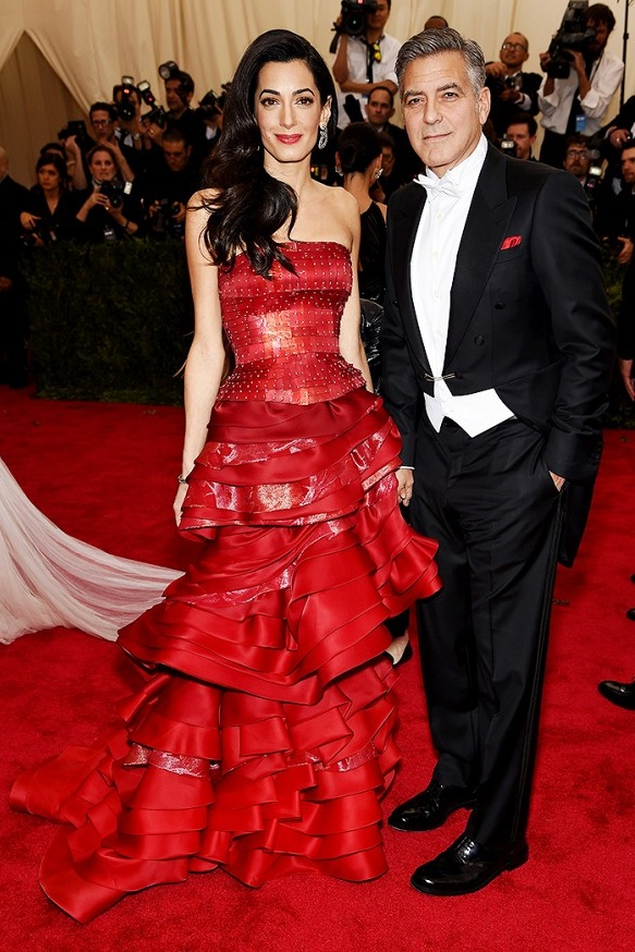 BINE Amal& George Clooney- John Galliano for Maison Margiela gown